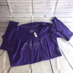 Purple Long Sleeve Sleep Shirt Size Medium